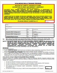 Avalanche Canada AST1 Waiver