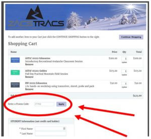 Enter codes for Avalanche Training Discounts in Zacs Tracs shopping cart