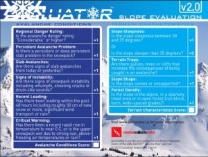 Avalanche Canada Avaluator2 Slope Evaluation Card