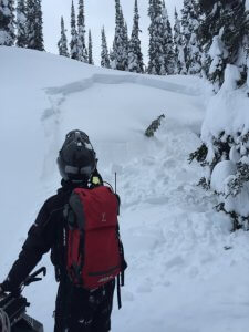 Avalanche along snowmobile trail.  Signs of instability