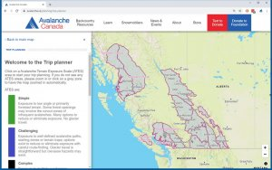 Avalanche Canada Trip Planner map displays ATES terrain