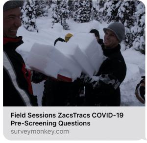 Zacs Tracs avalanche field session COVID Pre-Screening questions